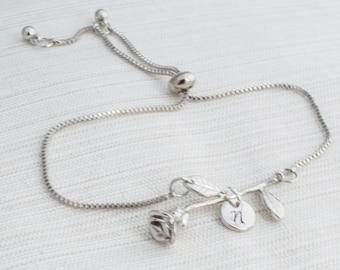 73e12abe50 Rose Bracelet, Flower Bracelet, Beauty and the Beast, Gift for her,  Bridesmaid gift, Friendship Gift, Personalised Jewelry, Custom Bracelet