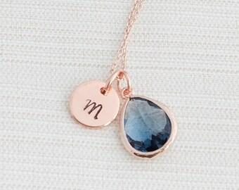 Rose Gold & Dark Blue Gemstone Initial Necklace, Monogram Necklace, Gemstone Layering Necklace, Bridesmaid Necklace