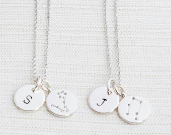 Personalised Silver Zodiac Necklace, Zodiac Jewelry, Initial Necklace, Constellation Necklace, Aquarius, Virgo, Pisces, Libra