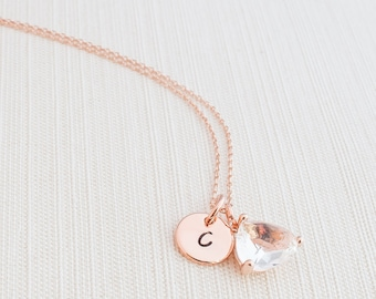 Rose Gold Initial and Gem Necklace, Disc Necklace, Hand Stamped on Disc, Personalised Jewellery, Rose Gold Plated Necklace, Gift idea