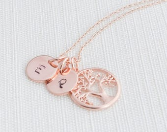 Rose Gold Tree of life Necklace ,Family tree Necklace, Rose Gold Plated Disc Necklace,  A great gift idea