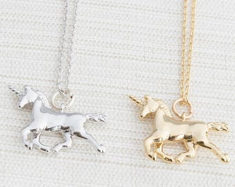 Unicorn Necklace in Gold or Silver