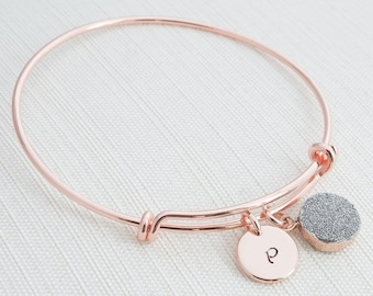 Rose Gold Bangle & Silver Druzy Charm, Initial Bracelet, Druzy Bracelet, Rose gold Quartz Bracelet