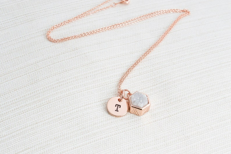 Rose Gold Druzy and Initial Necklace  Neutral coloured Druzy image 0