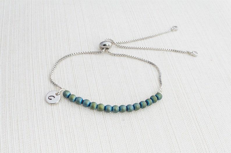 Initial and hemitite slider bracelet initial bracelet Silver