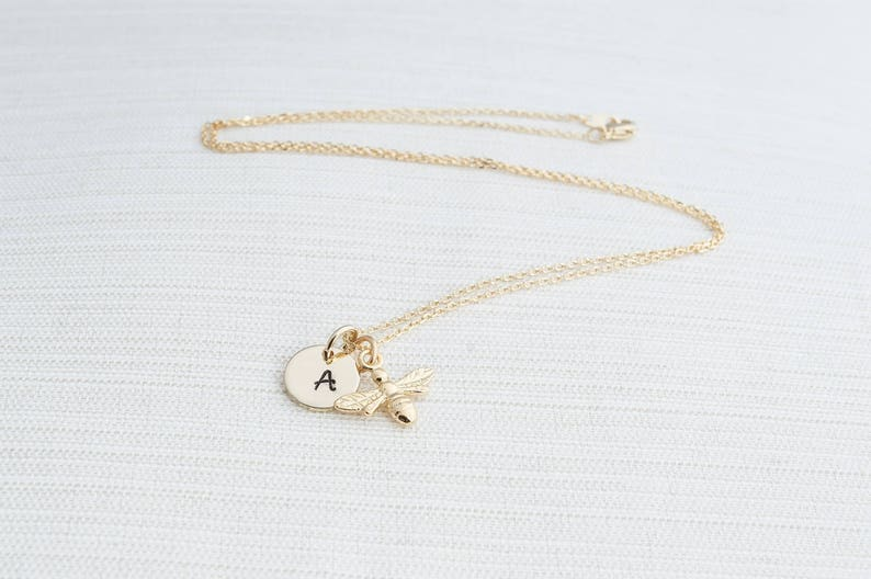 Gold Initial and Bee Necklace Initial Necklace Gold Bee image 0