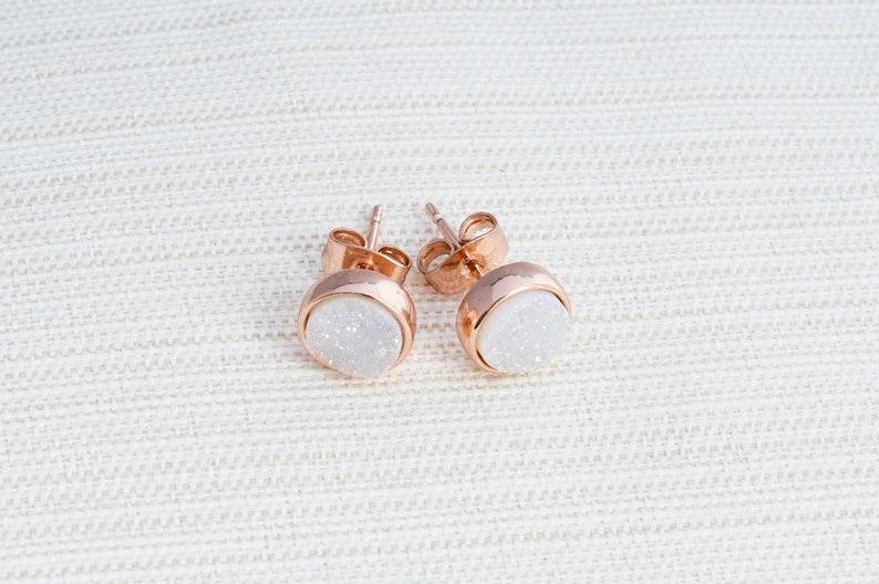 Rose gold Druzy earrings white druzy earrings avaible in Rose Gold