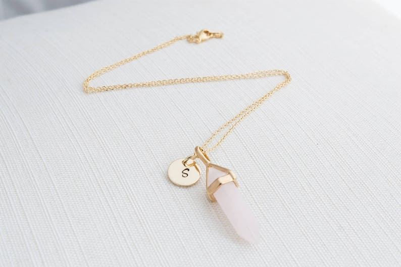 Gold Initial and Rose Quartz Necklace Disc Necklace image 0