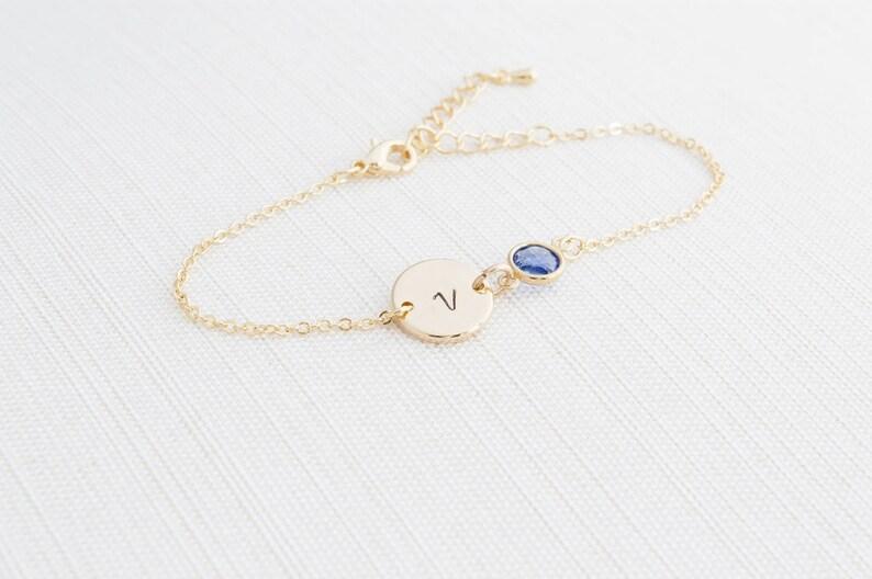Gold Birthstone & Initial Bracelet Gold plated Bracelet image 0