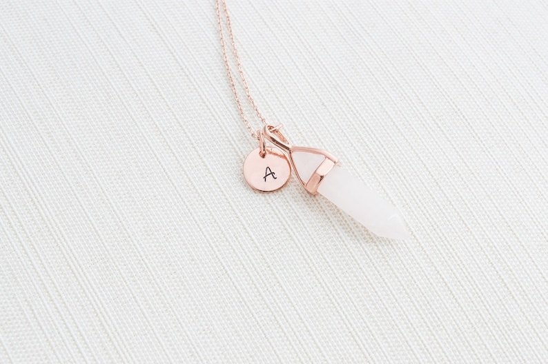 Rose Gold Initial and Rose Quartz Necklace Disc Necklace image 0