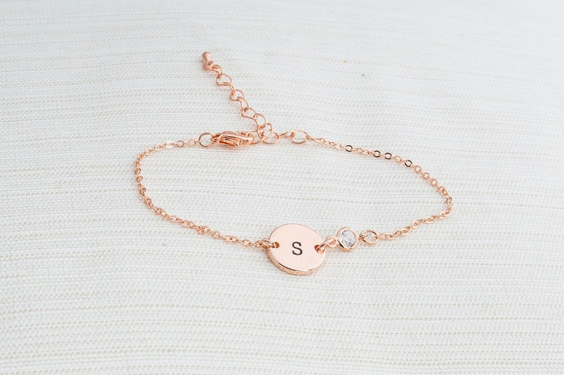 Rose gold and Cubic Zirconia initial bracelet Rose gold image 0