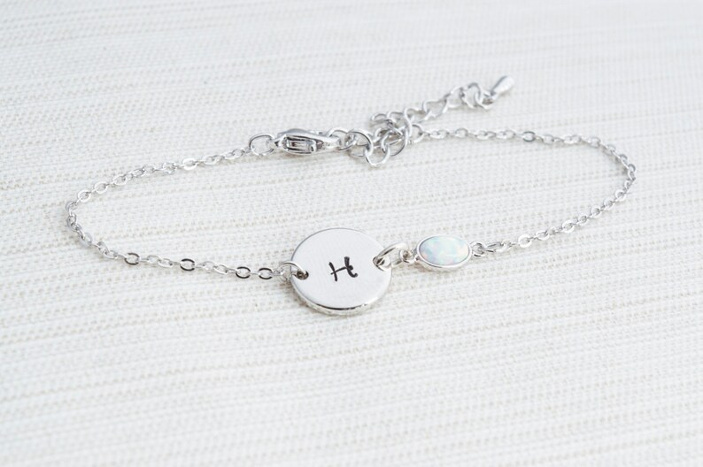Silver initial & Opal Bracelet Silver Initial Bracelet image 0