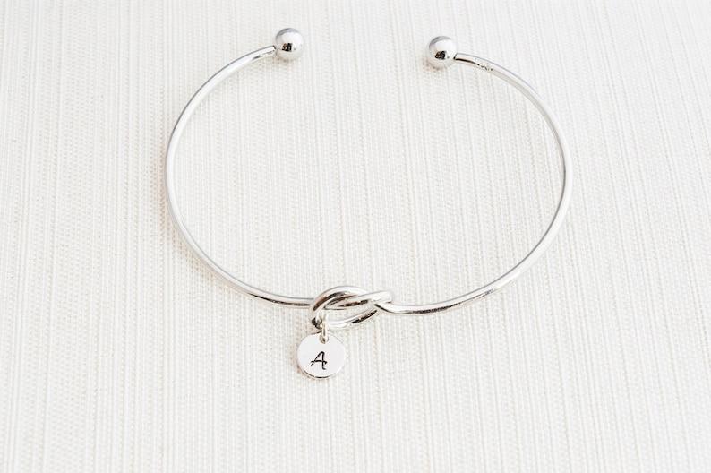 Silver Love knot Bracelet tie the knot bracelet Initial image 0