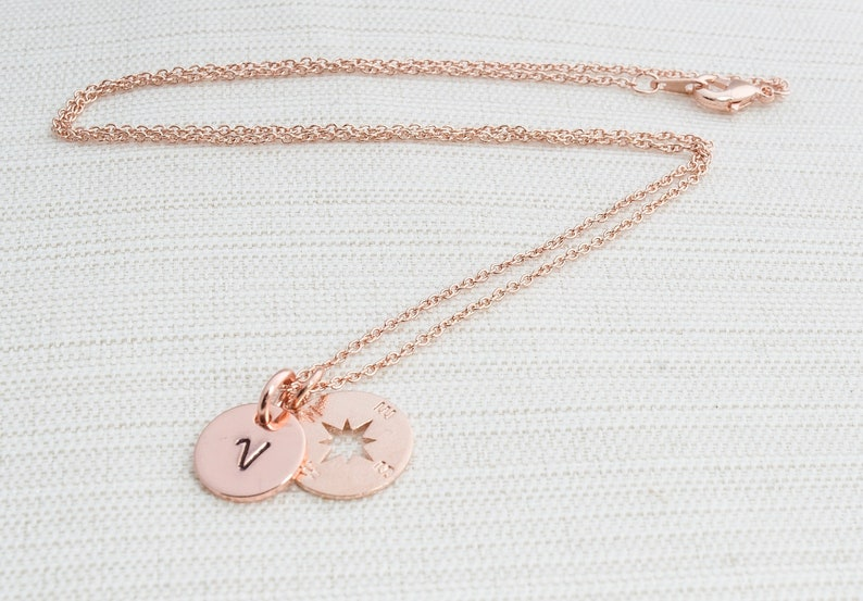 Rose Gold Initial & Compass Necklace Initial Jewelry Rose image 0