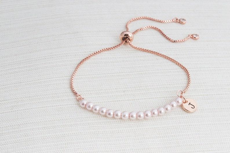 Rose Gold and Pink Pearl initial bracelet Pearl bracelet Rose gold