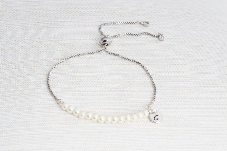 Silver and Ivory Pearl initial bracelet Pearl bracelet Silver