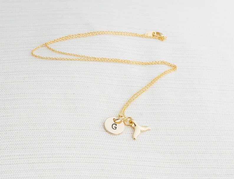Personalized Whale Tale Necklace in Gold Initial Necklace image 0
