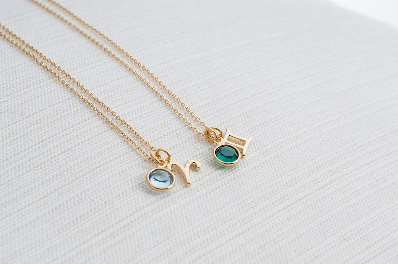 Zodiac & Birthstone Necklace Gold zodiac necklace birthstone image 0