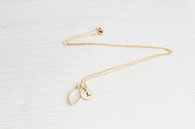 Gold Initial and Mother of Pearl Necklace Disc Necklace image 0