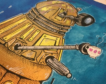 Dalek original painting, dr who illustration with gold and bronze, tea and robots