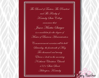 Classic Graduation Invitations/Announcements | Perfect for College, High School or Preschool Graduates - Digital File OR Printed