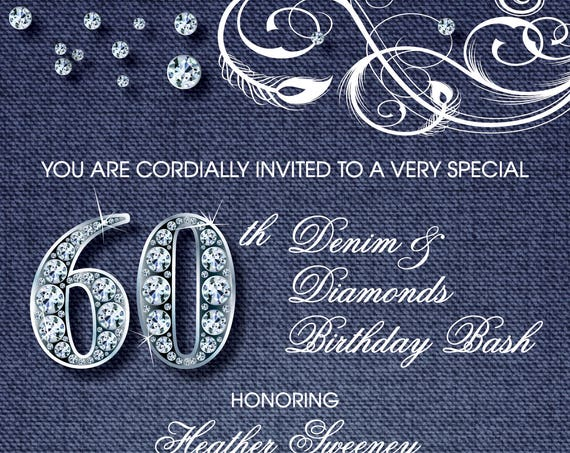 Denim and Diamonds Adult Birthday Party Invitation - Digital File OR Printed