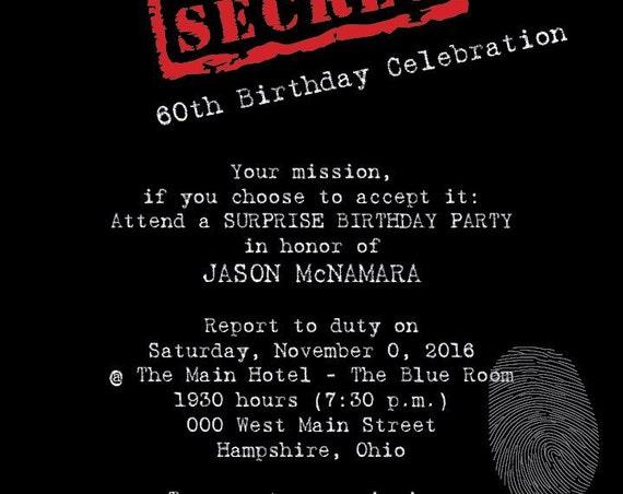 Top Secret Surprise Party - Digital File OR Printed