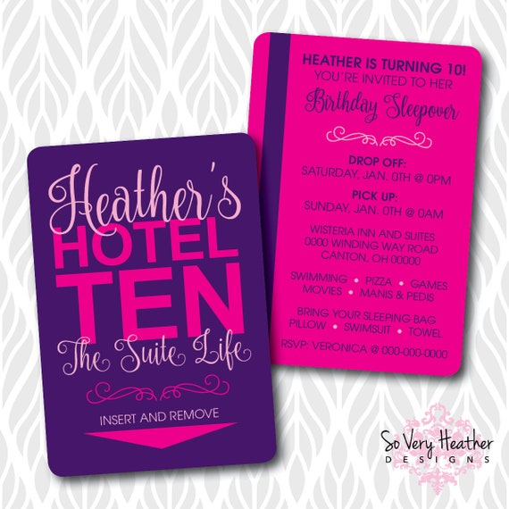 Hotel Sleepover Birthday Party! Printed Invitations - Hotel Key Card