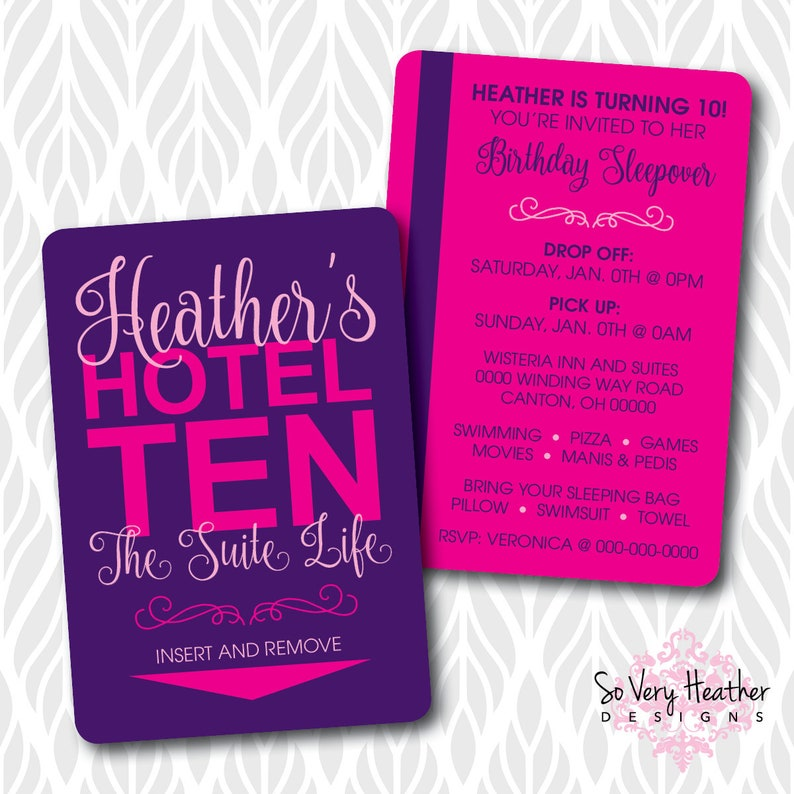 Hotel Sleepover Birthday Party Printed Invitations  Hotel image 0