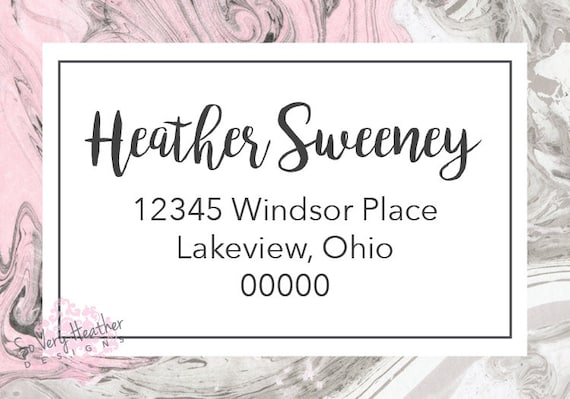 Pink and Grey Gray Marble Return Address Sticky Back Label Bromello Script, Peel and Stick, Matching Address Label - Digital File OR Printed