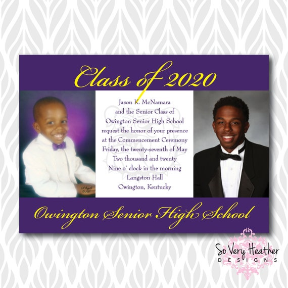 Then And Now Photo Graduation Invitations/Announcements | Perfect for College, High School or Preschool Graduates - Digital File OR Printed