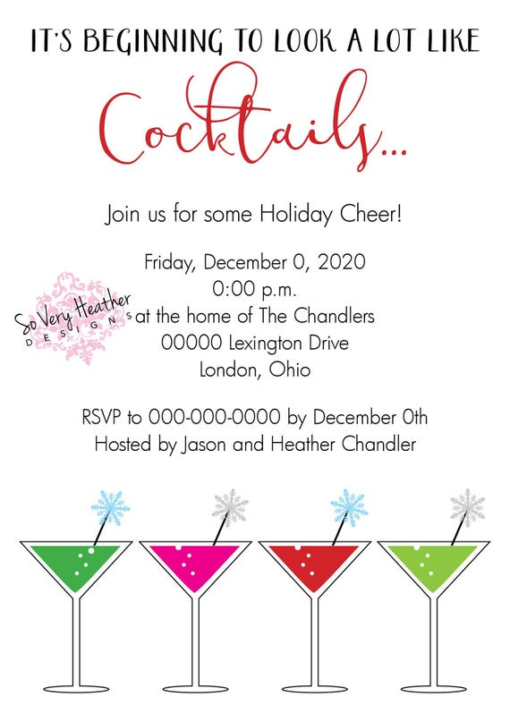 Holiday Cocktail Invitation | It's Beginning to Look a Lot Like Cocktails - Digital File OR Printed