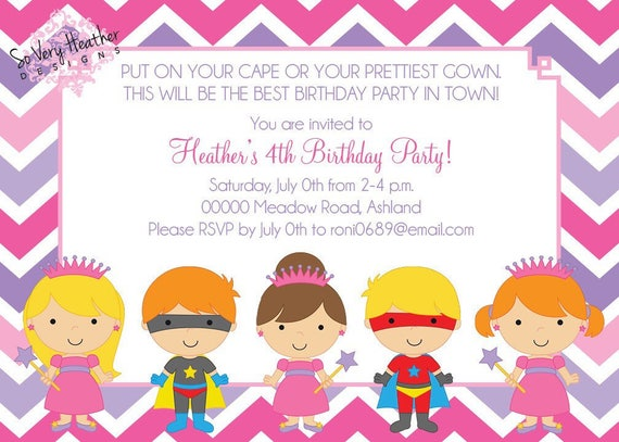 Princesses & Superheroes Birthday Party Invitation - Digital File OR Printed
