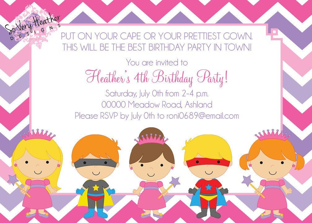 Princesses & Superheroes Birthday Party Invitation - Digital File OR ...