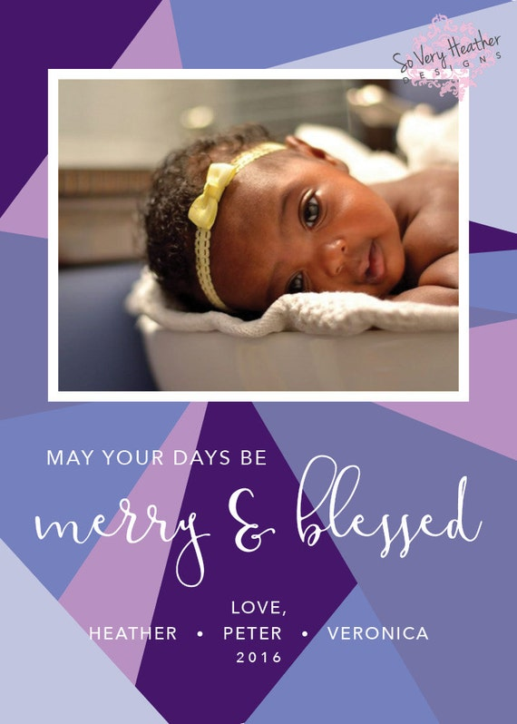 Merry & Blessed Photo Christmas Cards - Digital File OR Printed