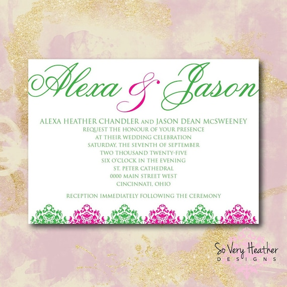 Purple and Teal Wedding Invitation, 25th Wedding Anniversary, Vow Renewal Invitation - Digital File OR Printed