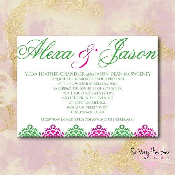 Purple and Teal Wedding Invitation, 25th Wedding Anniversary, Vow Renewal Invitation - Digital File OR Printed