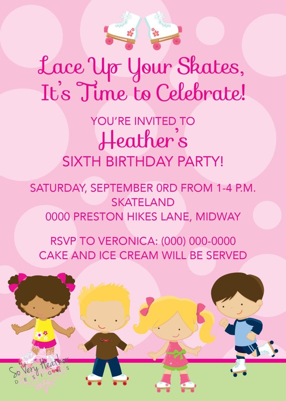 Roller Skating Birthday Party Invitation - Digital File OR Printed