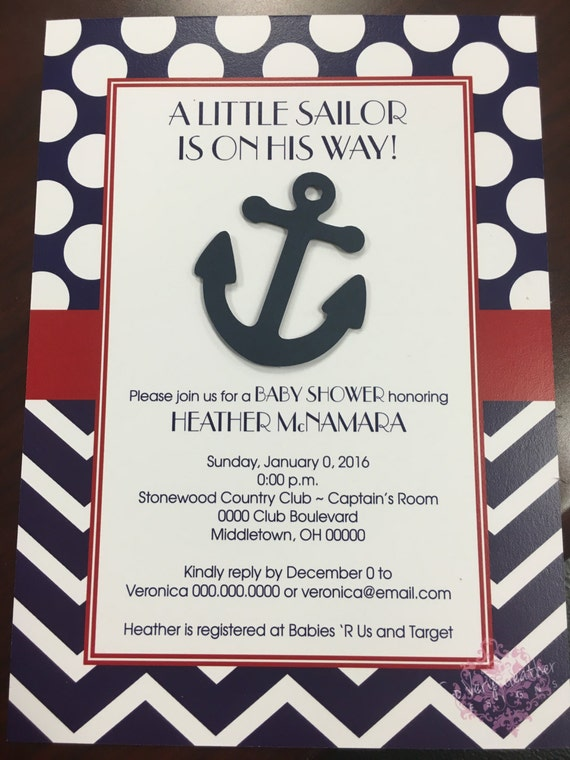 Little Sailor Printed Baby Shower Invitations with Die Cut Anchor