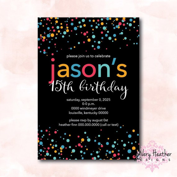Colorful Confetti Birthday Party Invitation - Digital File OR Printed