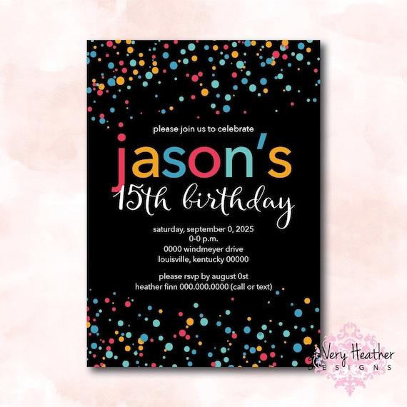 Colorful Confetti Birthday Party Invitation - Digital File OR Printed