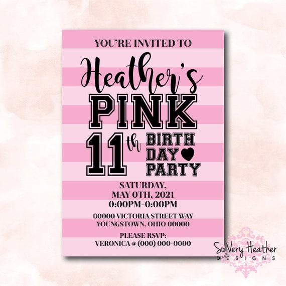PINK Victoria's Secret Birthday Party Invitation - Digital File OR Printed