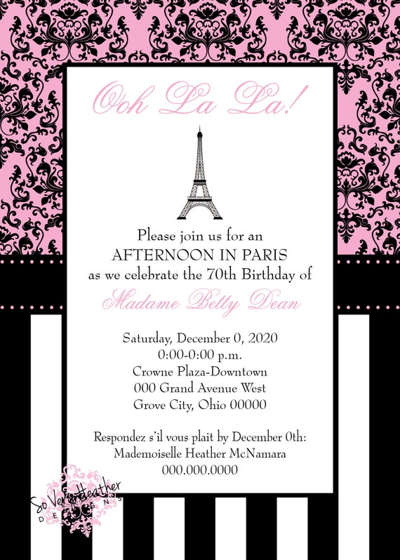 Parisian Pink and Black Adult Birthday Party Invitation - Digital File OR Printed