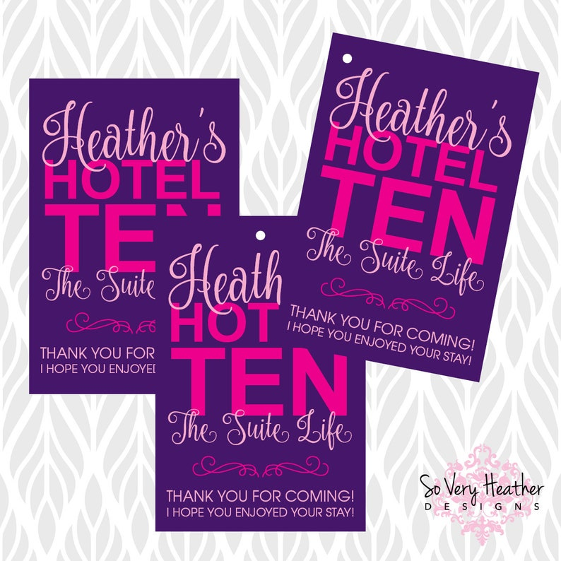 Hotel Sleepover Birthday Party Matching Label/Tags/Stickers image 1