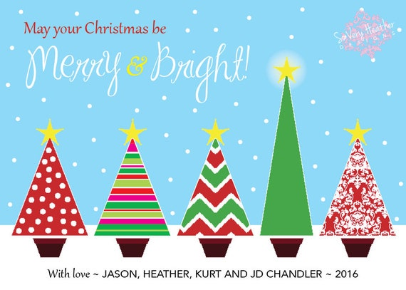 Merry & Bright Holiday Tree Cards - Digital File OR Printed