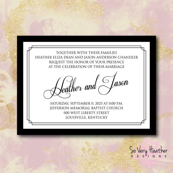 Black and White Wedding Invitation, 25th Wedding Anniversary, Vow Renewal Invitation - Digital File OR Printed