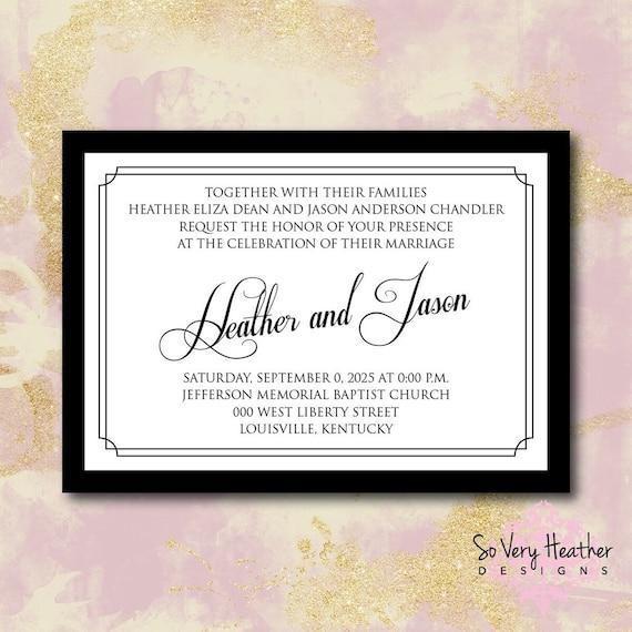Black and White Wedding Invitation, 25th Wedding Anniversary, Vow Renewal Invitation - Digital File OR Printed