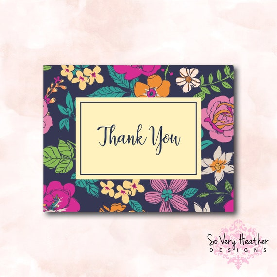 Floral Thank You Card - Digital File OR Printed