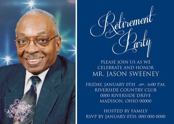 Blue and White Retirement Party, Wedding Anniversary, Adult Birthday Party Invitation - Digital File OR Printed