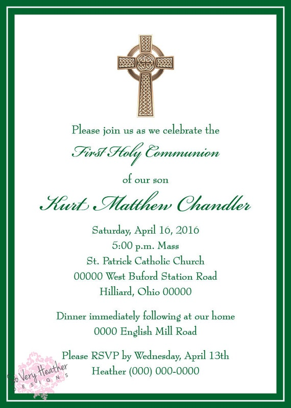 Baptism, First Communion, RCIA, Confirmation Invitations - Digital File OR Printed